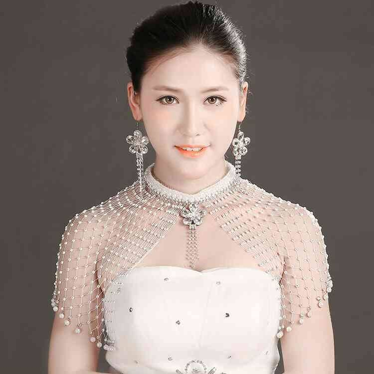 Bridal Wedding Accessories shoulder Necklace Earring Set multi-layer temperament crystal pendant long meat covering new shoulder chain