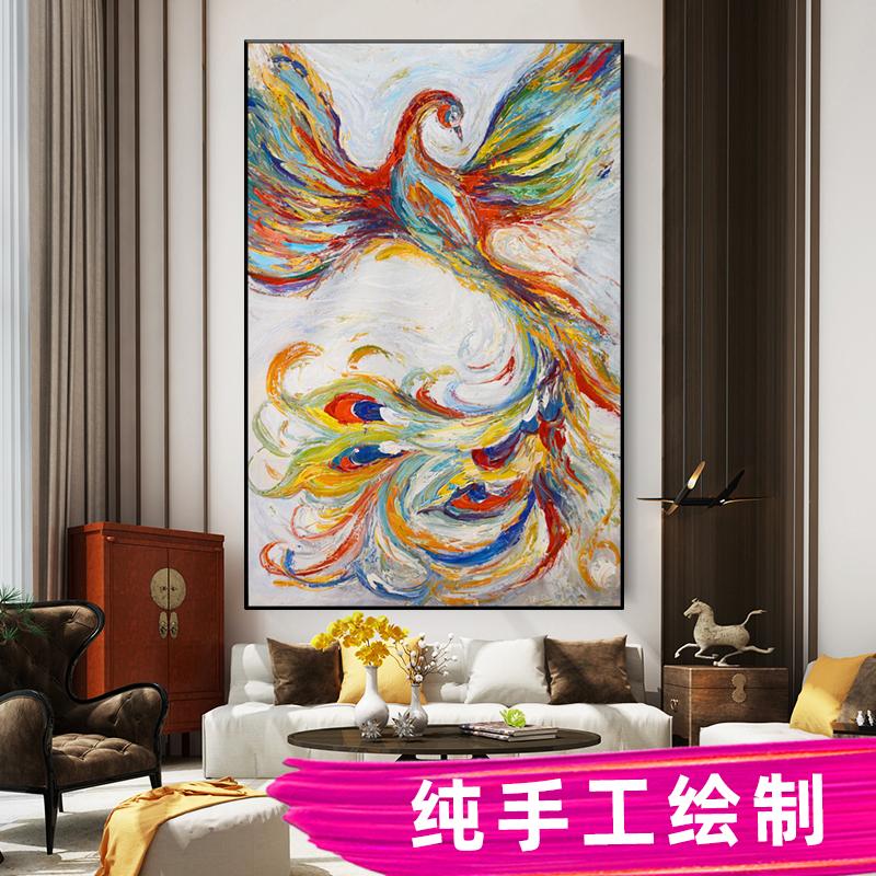 彩色鳳凰抽象掛畫現代簡約墻畫純手工油畫定制孔雀玄關過道裝飾畫