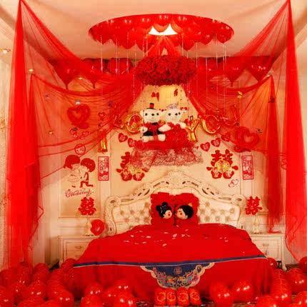 房顶新娘纱幔婚房装饰拉花卧室中式新郎彩色缦吊顶公主风新房手花