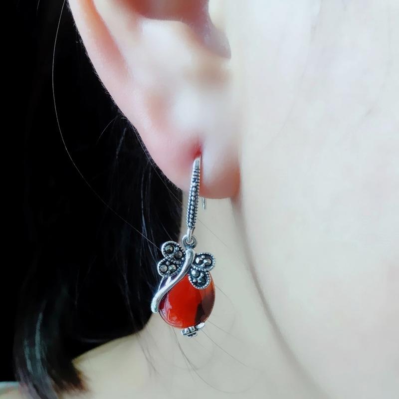龙宝隆珠宝S925银黄玛瑙石榴红蜻蜓耳环水滴耳坠新款仿古宝石耳饰
