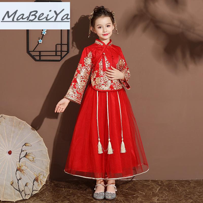 2019新款女童唐装中国风大童古装旗袍新年装拜年服复古礼服公主裙