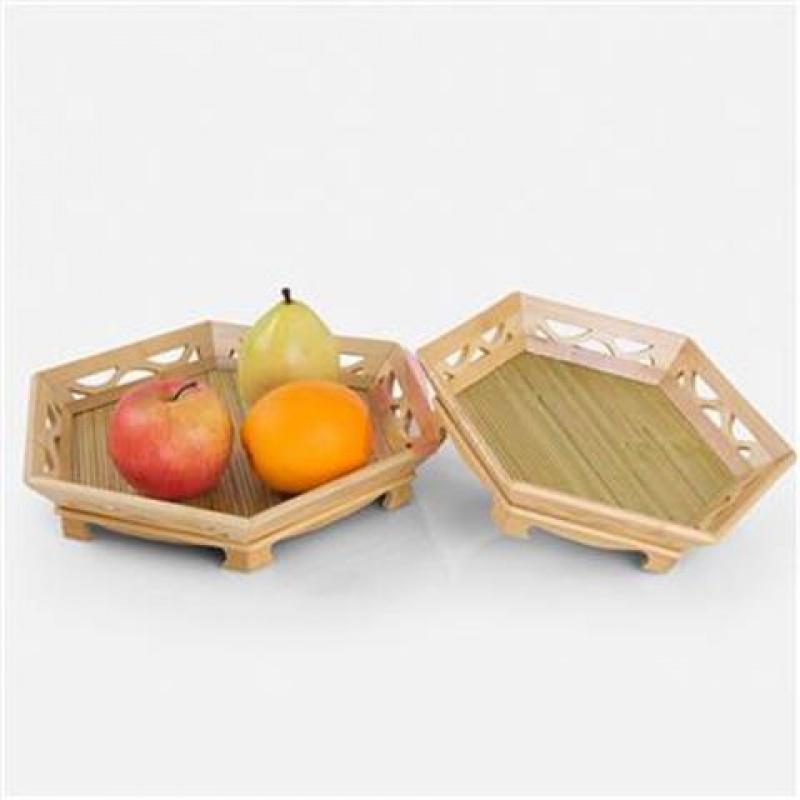 竹编镂空六角竹盘青底六角盘寿司盘果盘竹制托盘点心日韩料理餐具