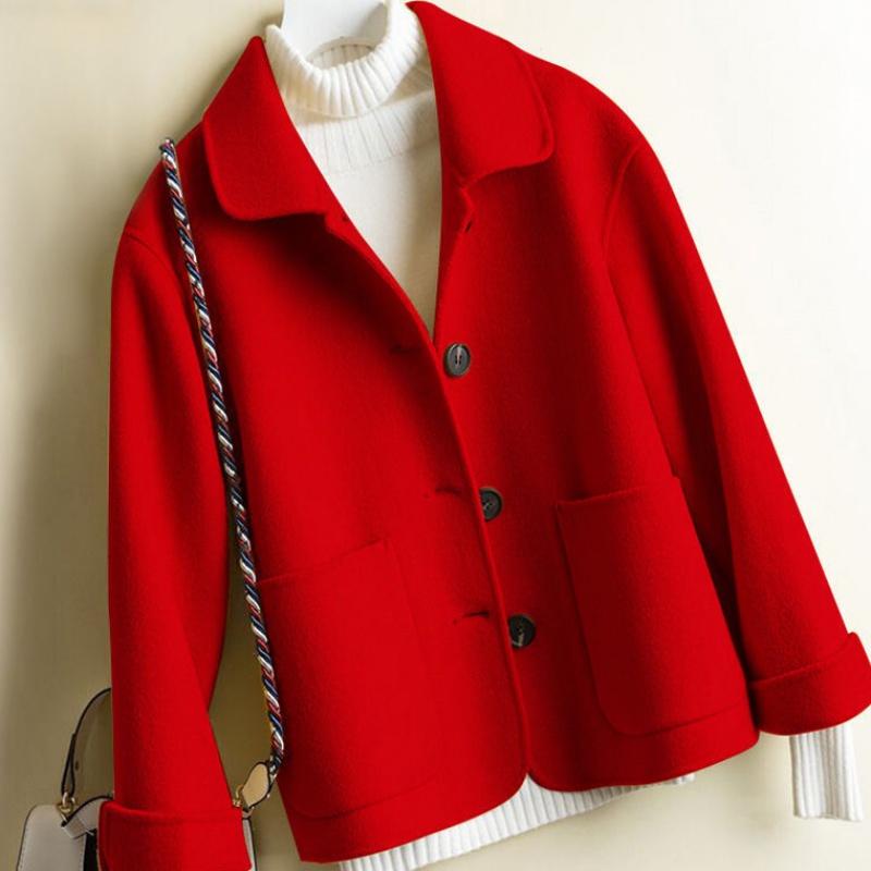 春冬款呢子大衣2020毛呢女宽松赫本风斗篷收腰红色百搭时尚外套潮