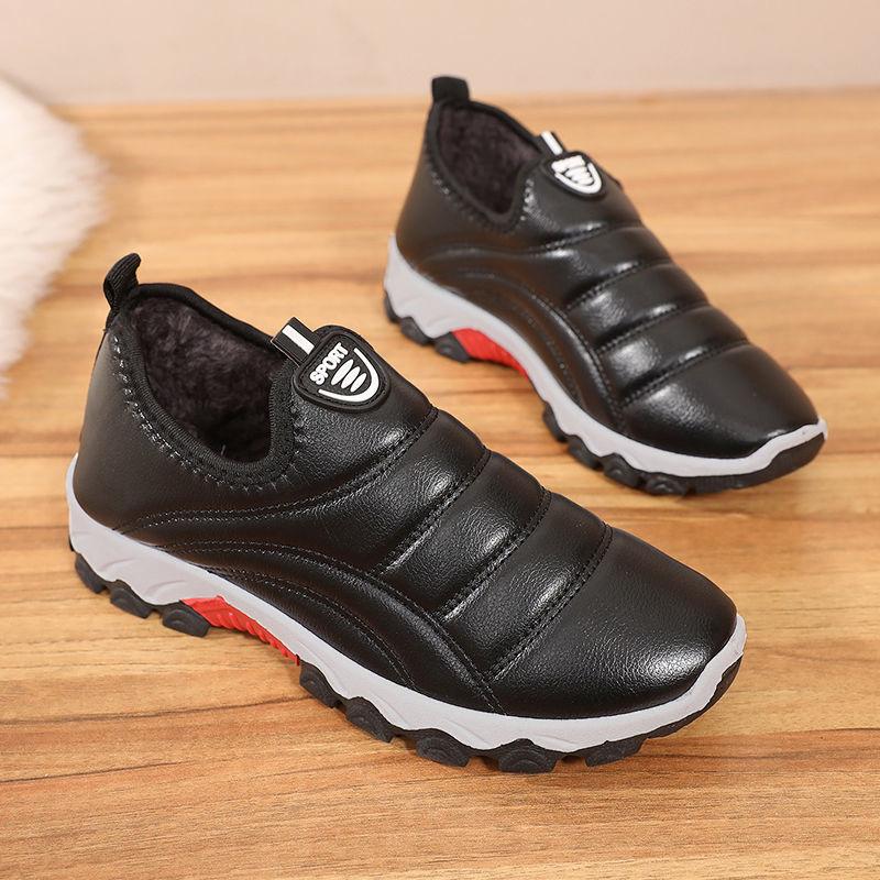 2020老北京棉鞋女冬季保暖PU平底防滑防水鞋加绒加厚保暖靴