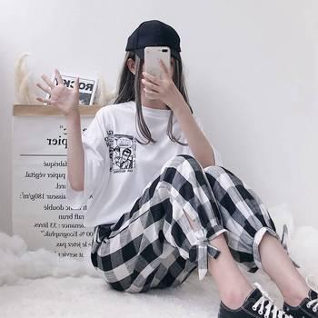 单件/套装 两件套原宿女学生韩版宽松T恤+格子裤网红社会套装女夏