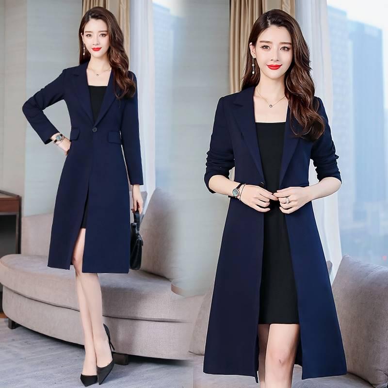 起宾长款西服女秋季2019新款 中长款 一粒扣西装领修身显瘦女外套