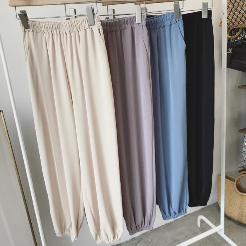 雪纺夏季高腰阔腿束脚宽松萝卜裤(非品牌)