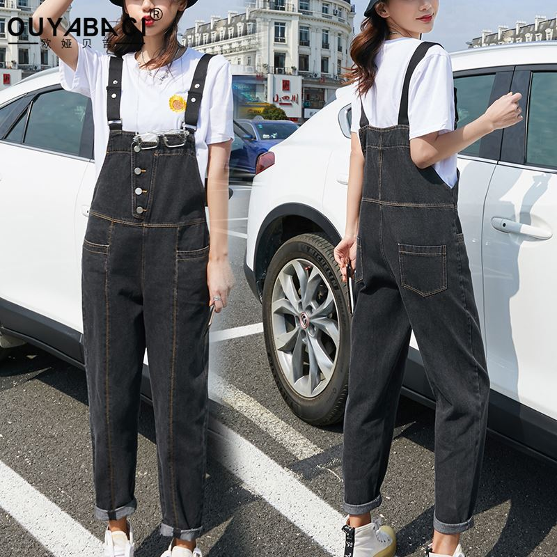 Black grey front button denim belt pants womens slim fit and age reducing dad pants spring and autumn 2020 pipe pants fashion summer