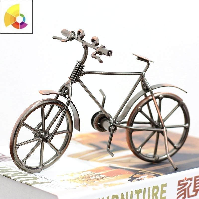 复古老式铁艺自行车模型工艺品创意客厅酒柜装饰品摆设橱窗小摆件