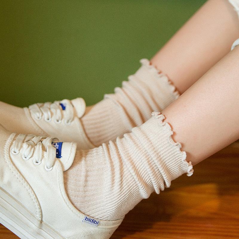 堆堆袜女棉质松口袜木耳边透气月子中长筒袜子孕妇产后春夏季薄款