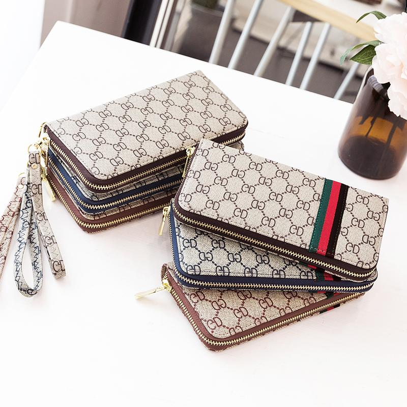 Mens and womens wallet long 2019 new single zipper wrist hand bag multi function mobile phone change bag