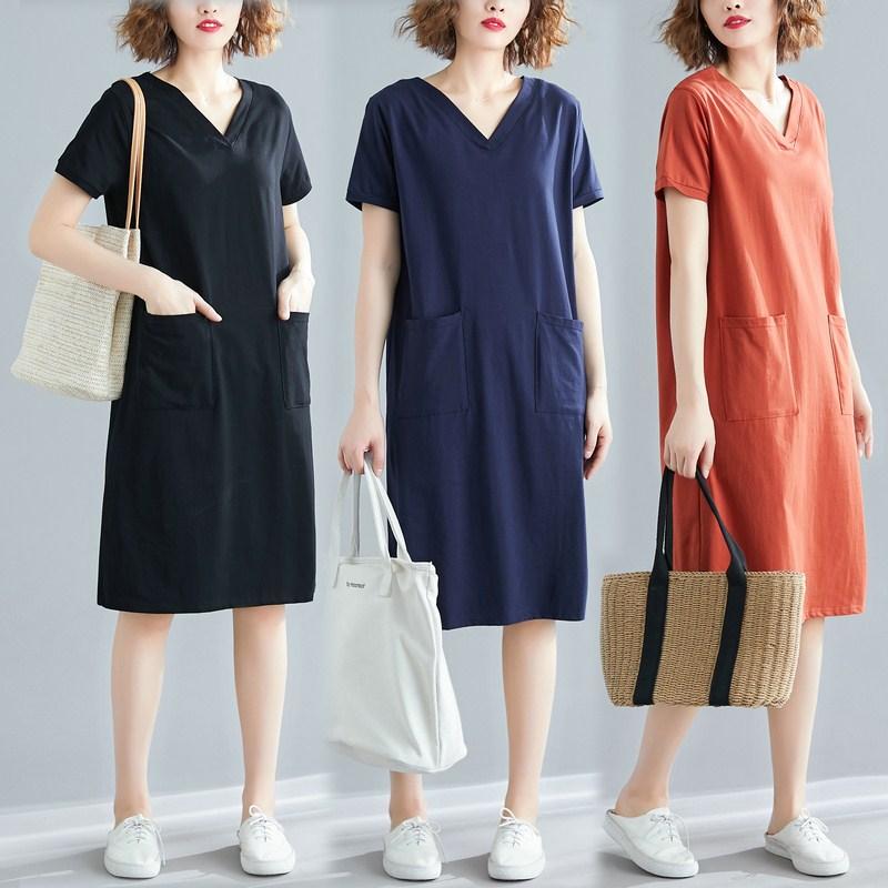 大码女装夏季宽松版中长款t恤裙子胖mm纯色v领显瘦短袖连衣裙潮