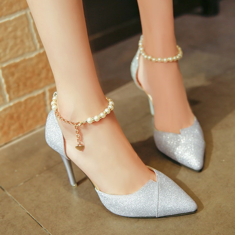 Shoelaces single leather shoes generous high heels temperament lovely naked children ankle girls women leisure repair