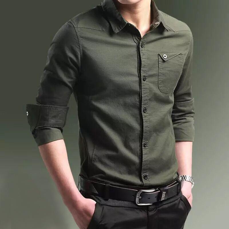 2020 new spring and autumn thin shirt mens long sleeve shirt Korean slim fit pure cotton inch shirt mens wear