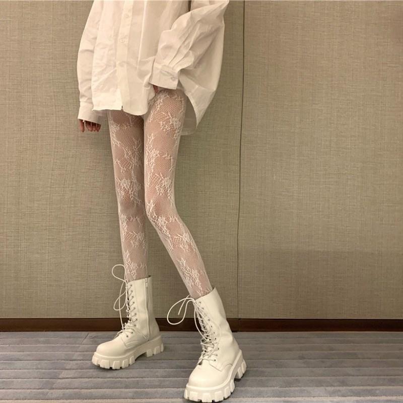 镂空花藤丝袜女薄款百搭性感萝莉蕾丝打底连裤袜美腿白色长筒袜子