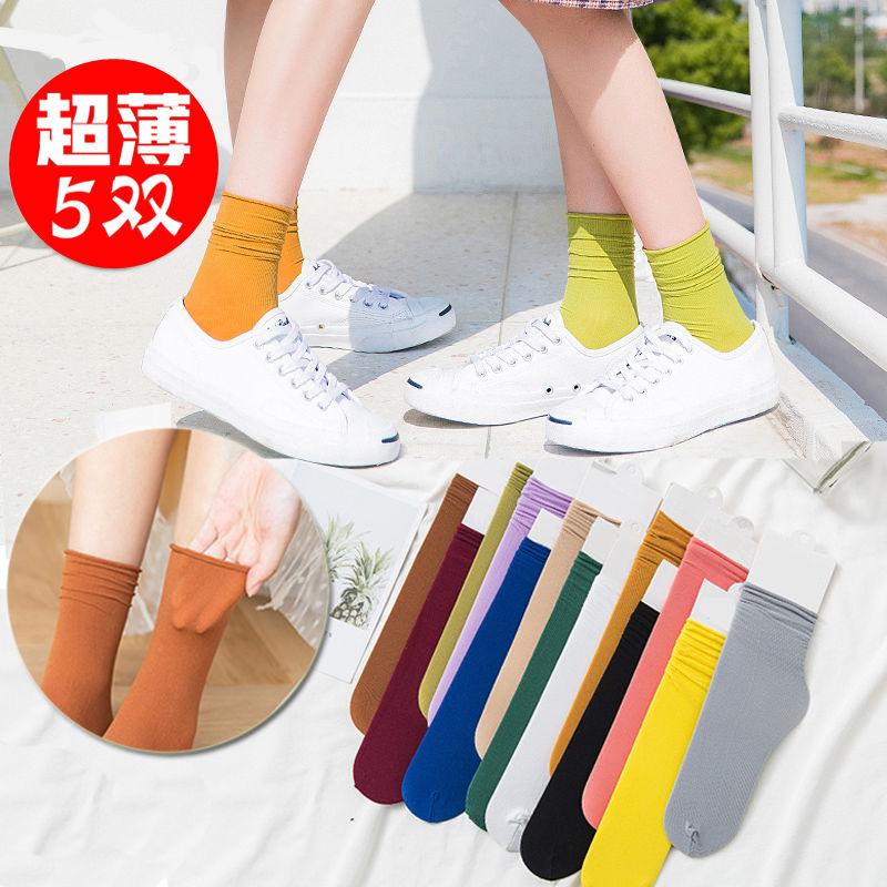 堆堆袜女薄款夏季透气韩版中筒薄泫雅风ins潮黑色长袜子女学院风