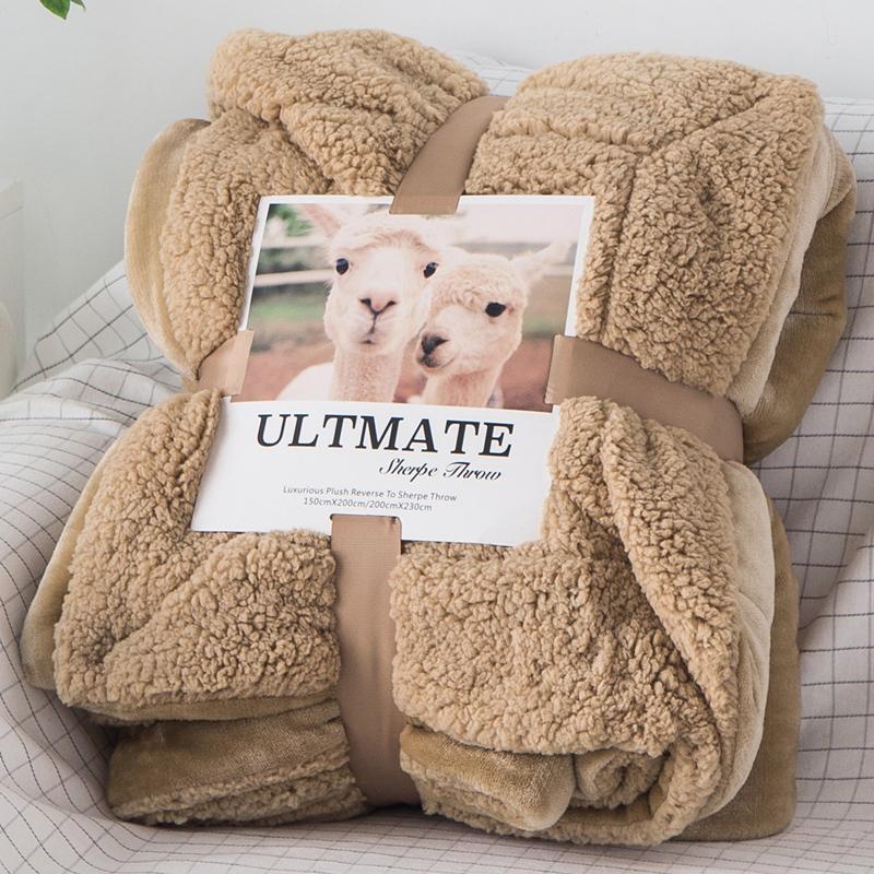小毛毯羊羔绒双层加厚珊瑚绒被子