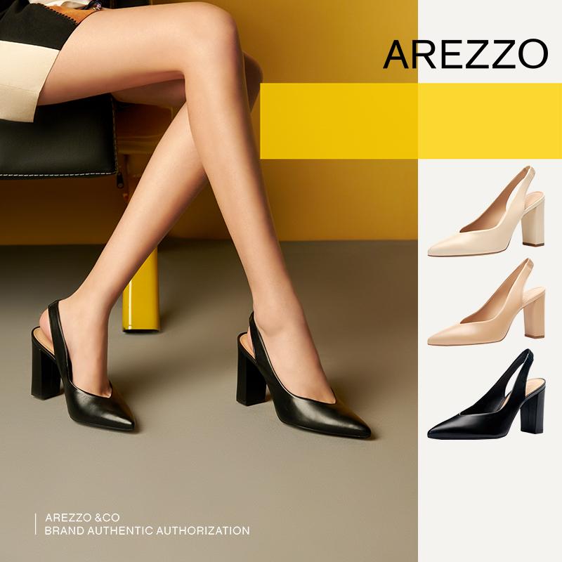巴西AREZZO雅莉朶2019年夏季新款多色粗高跟尖头套脚百搭女单凉鞋,可领取20元天猫优惠券