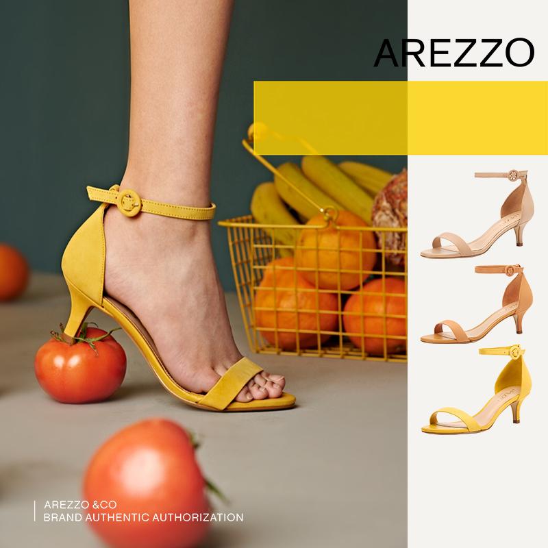 巴西AREZZO雅莉朶2019年夏季新款多色简约一字扣百搭细跟女单凉鞋,可领取20元天猫优惠券
