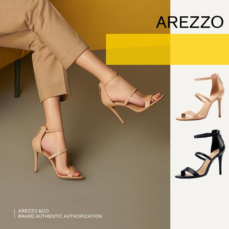 巴西AREZZO雅莉朶2019年夏季新款多色细高跟真皮拉链优雅女单凉鞋,可领取40元天猫优惠券