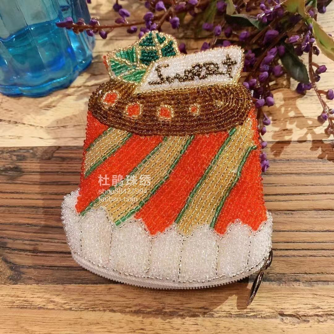 Rhododendron embroidery factory direct sale pure handmade Red Christmas cake female card bag coin student beads zero Purse