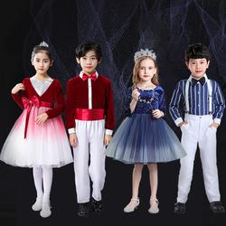 元旦儿童合唱演出服中小学生表演服大合唱团礼服女童诗歌朗诵服装