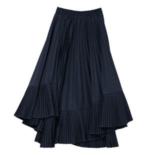 高腰百褶裙子女中長款2020新款秋冬黑色不規則大擺魚尾顯瘦半身裙
