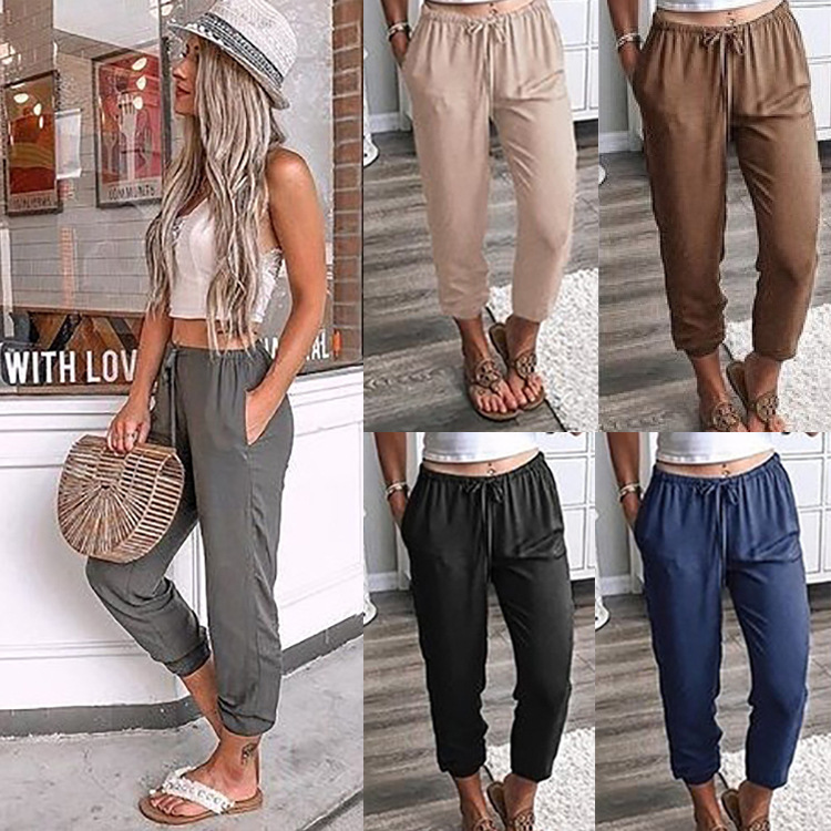 2020 eBay hot sale Amazon new product solid color lace up legged Capris low waist casual pants womens pants