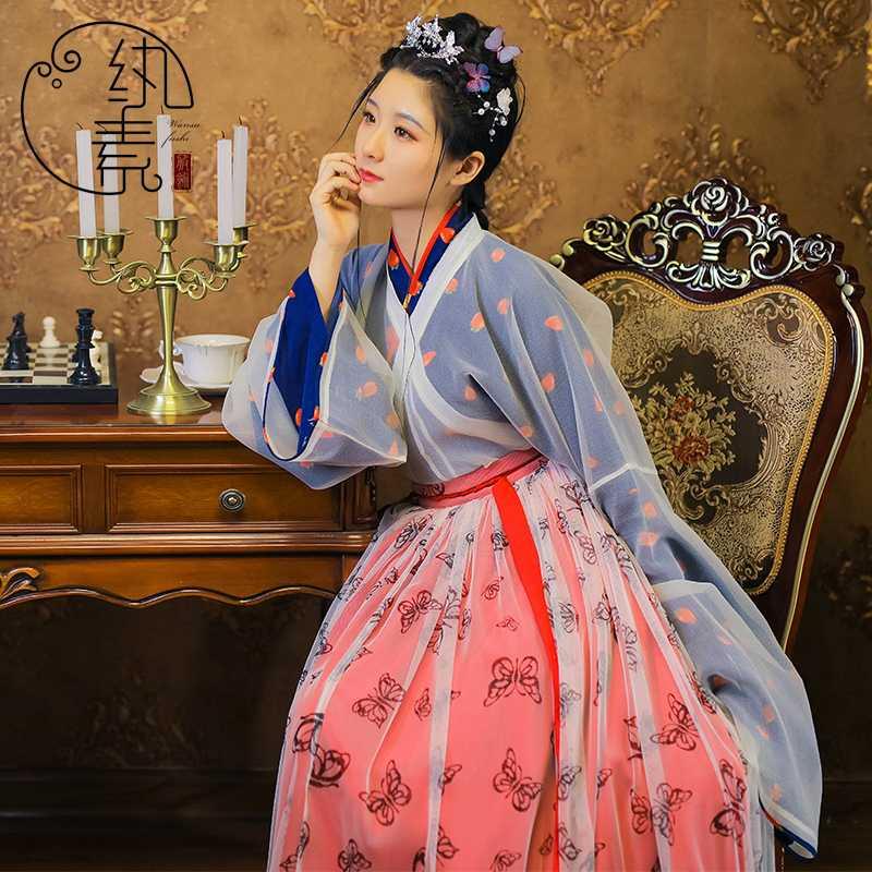 【草莓果冻】纨素 草莓印花晋襦六米摆褶裙四件套 汉服华服非古装