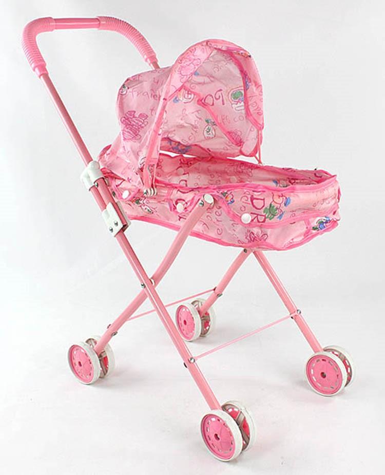儿童可爱洋娃娃玩具手推车铁架可折叠婴儿宝宝学步车过家家小推车