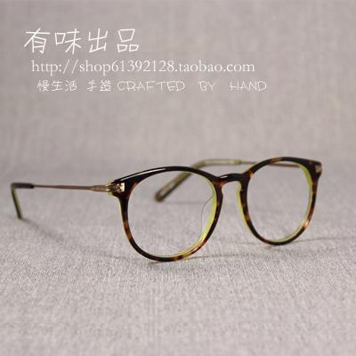 Tasteful genuine large round frame mens and womens decorative glasses ultra light ultra-fine plate versatile fashion short-sighted glasses frame fashion