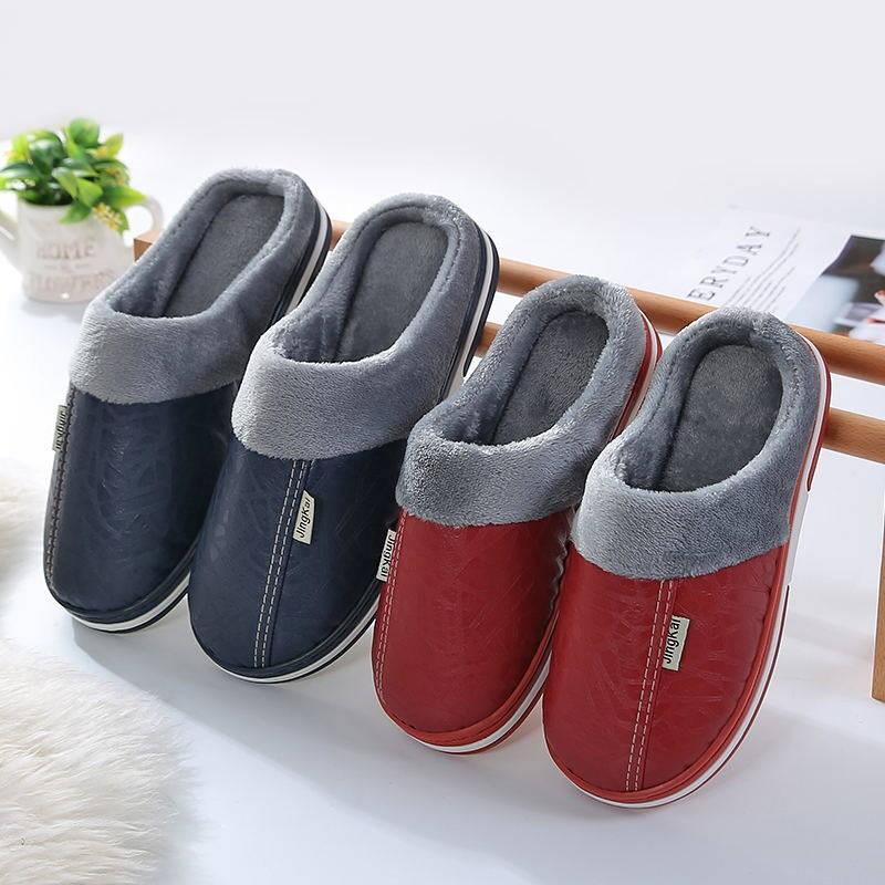 秋冬季情侣拖鞋女防滑防臭室内外居家加绒厚底月子PU皮棉拖鞋