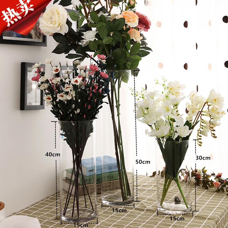 Бесплатная доставка по китаю Напольное оформление гостиной, цветочная композиция, сухое цветочное ясность новый Большая прозрачная стеклянная ваза с гидропонной лилийной бамбуковой вазой