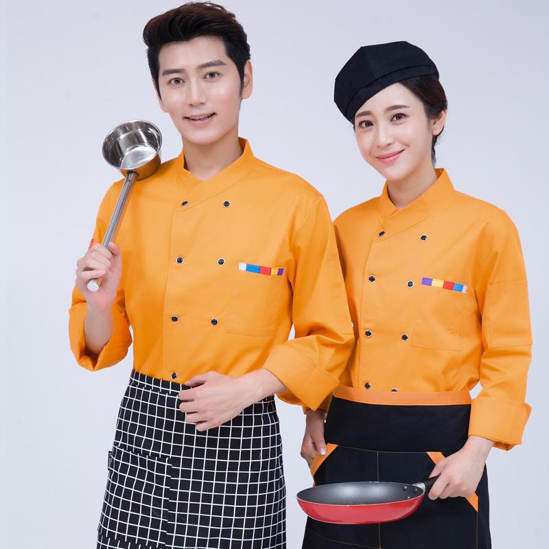厨师服长袖餐厅服务员服装酒店厨房餐饮制服学校食品厂工作服