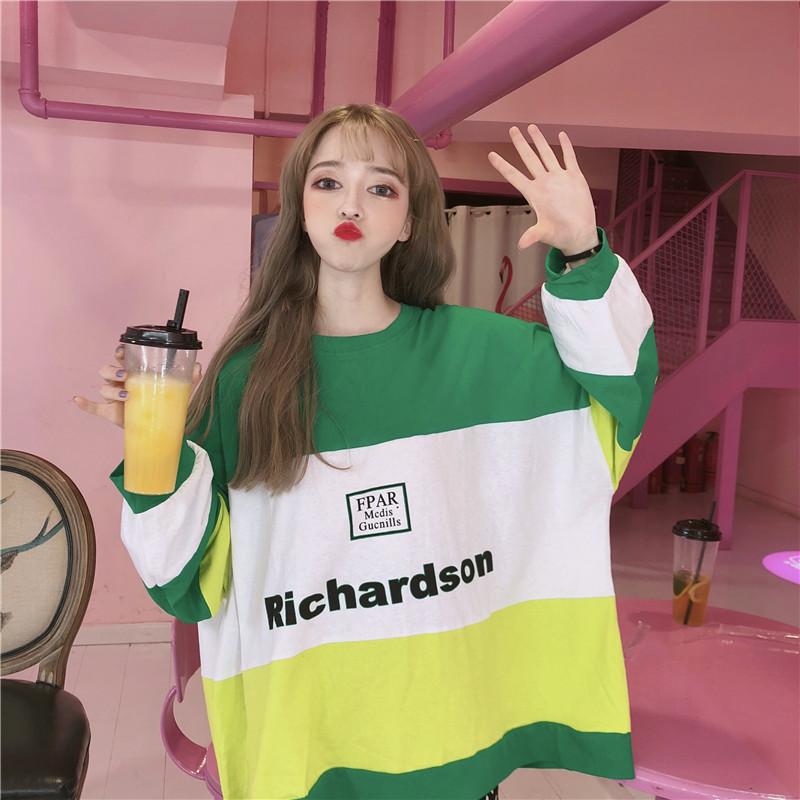 早秋新款T恤女2019韩版学生宽松三色拼接下身失踪廓形长袖上衣潮热销0件不包邮