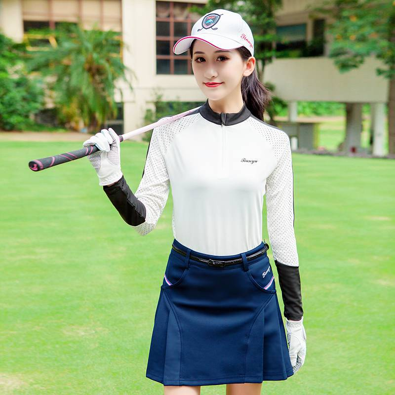 。 Golf dress spring summer dress womens quick drying mesh long sleeve ball dress T-shirt shorts skirt set