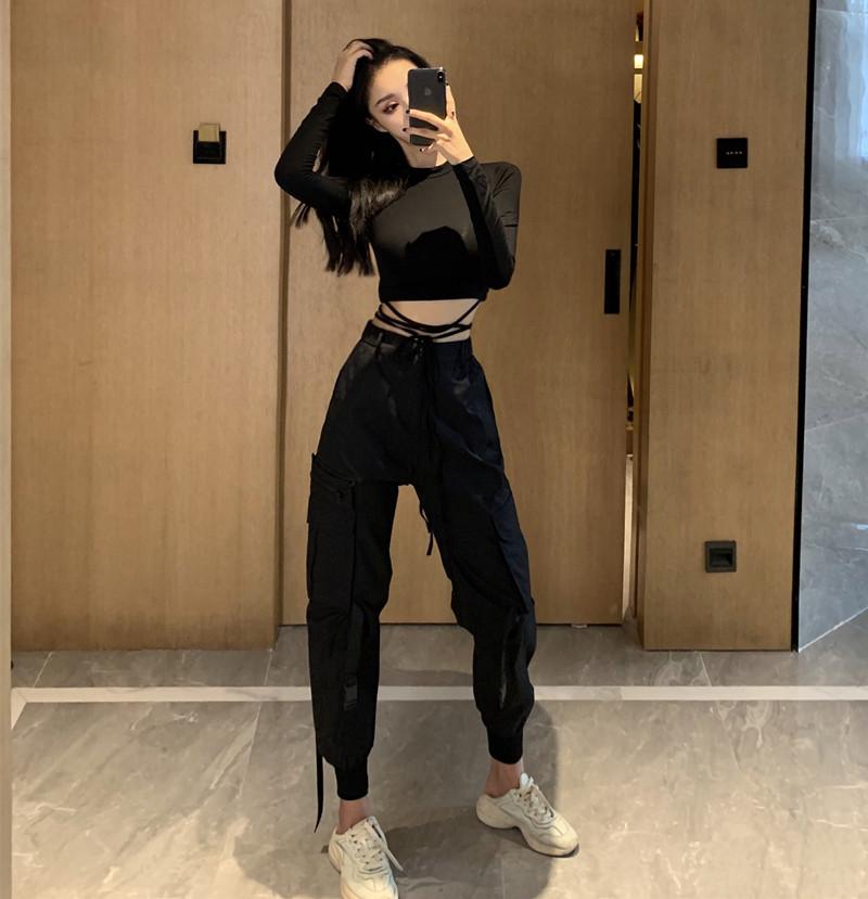 女士高腰工装裤束口显瘦酷女孩t恤