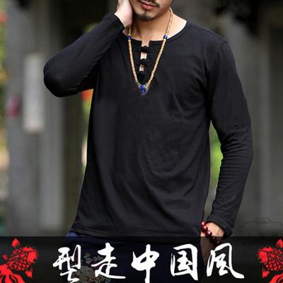 中国风男装佛系盘扣长袖t恤男士春秋民族风复古禅意茶服中式文艺