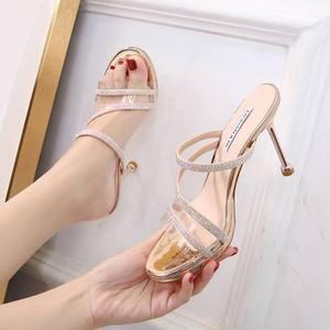 夏季凉鞋女百搭气质女士配裙子带钻拖鞋女2020新款细跟高跟鞋女