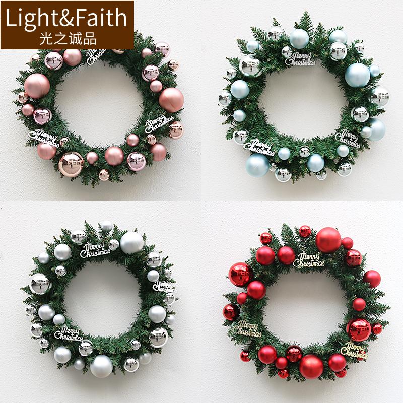 圣诞花环garland门挂装饰50cm成品陈列橱窗布置门饰品藤条圣诞圈
