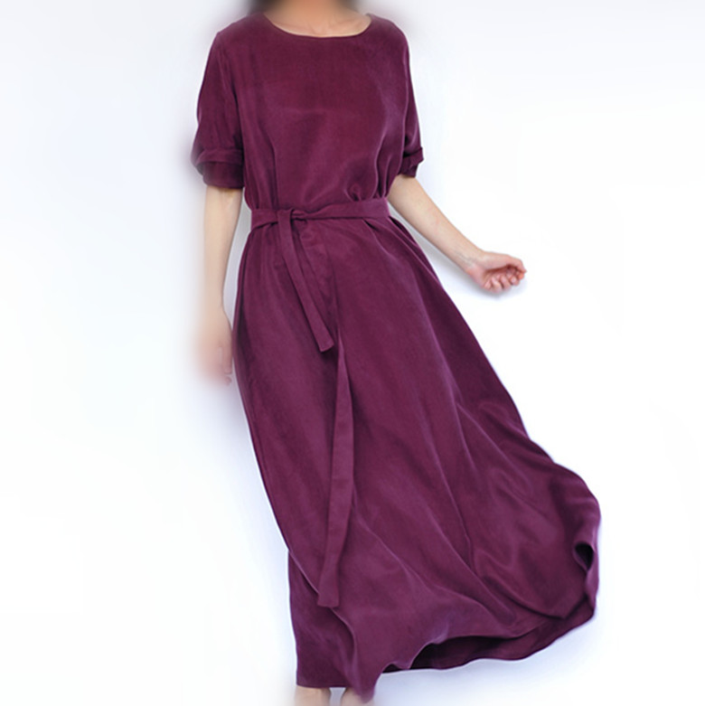 2020 original design heavyweight copper ammonia silk long skirt autumn loose European and American dress silk robe large round neck womens dress