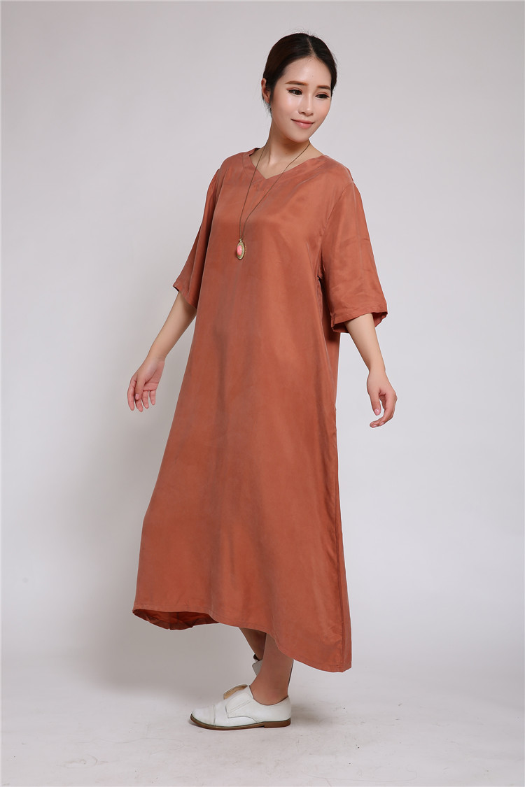 Original design heavyweight copper ammonia silk long skirt loose dress silk robe art large V-neck womens summer women
