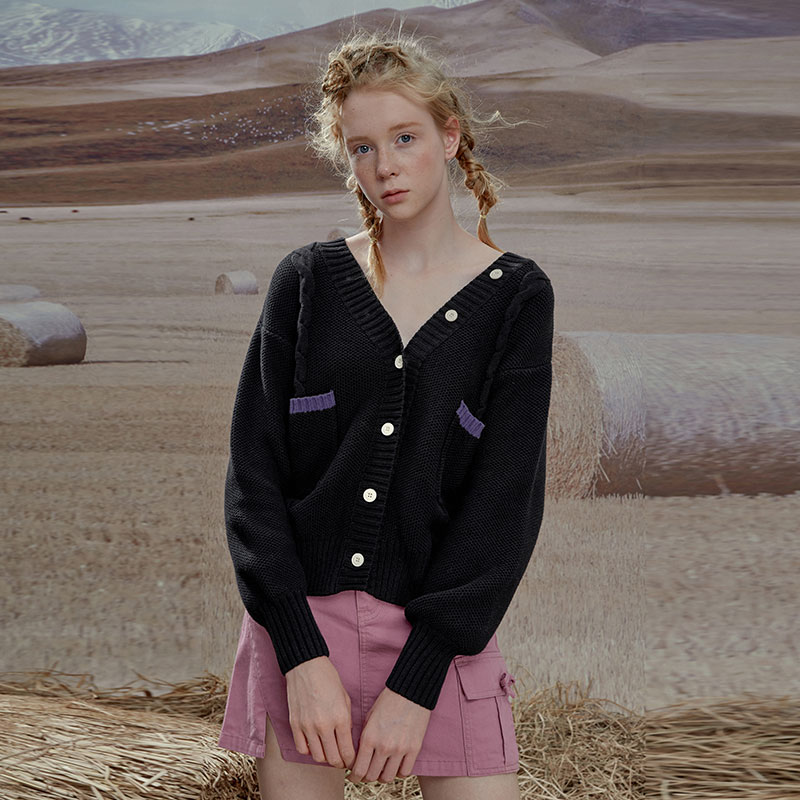 LLANO复古学院风chic麻花针织衫开衫毛衣上衣外套女装2021新款