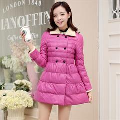 2016新款PU皮冬款棉衣女中长款修身韩版加厚羊羔毛棉袄羽绒棉服