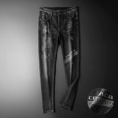 D320-1 8987 P140 秋冬季重工艺激光印花潮男个性牛仔裤