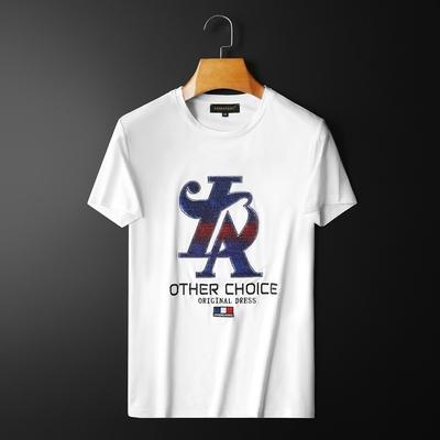 D232   28584   P75 夏装男士2021新款潮牌刺绣字母大码半袖T恤