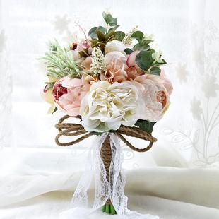 韩式 森系领证登记婚礼新娘手捧花结婚高档仿真花束拍照道具婚纱照