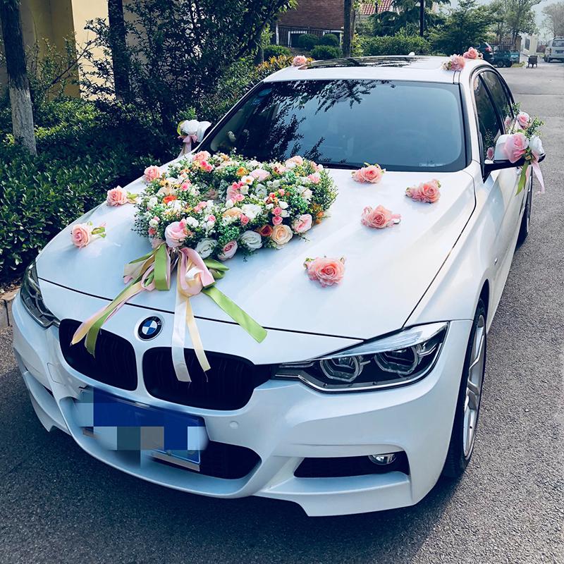 尤加利叶玫瑰主副婚车花车装饰结婚用品套装车头仿真鲜花拉花全套