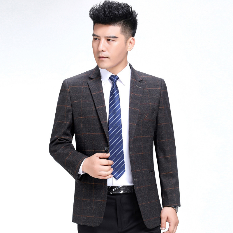 Autumn and winter mens suit fashion business middle-aged wool single suit boutique plaid coat thick one grain double breasted