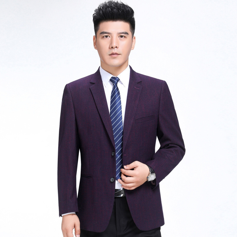 Mens suit fashion business middle age wool single suit stripe coat regular thick one grain double breasted extra wide type